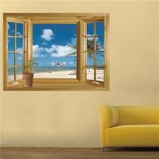 amazon com 3d beach window view removable wall stickers vinyl amazon com 3d beach window view removable wall stickers vinyl decal home decor deco art home kitchen