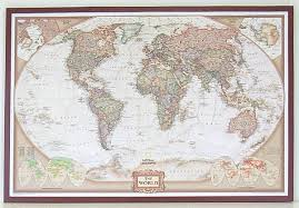 map usa framed world framed map executive mahogany 37x25in national geographic