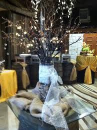 Shabby Chic Wedding Decoration Ideas rustic centerpiece with buffet set up in background shabby chic