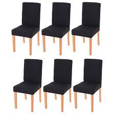 chaises s jour lot de 6 chaises de séjour littau tissu noir pieds clairs achat
