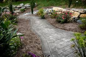backyard stamped concrete and wall spray into retreat