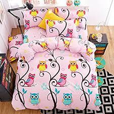 Owl Queen Comforter Set Amazon Com Cliab Owl Bedding For Girls Queen Size Duvet Cover Set