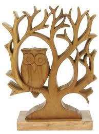 namesakes wholesale gifts wooden tree with owl on base pack size 5