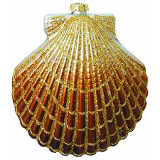 large copper clam shell ornament 2 pack
