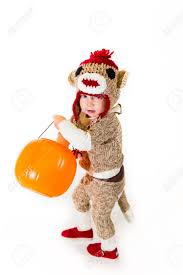 Sock Monkey Costume A Two Year Old Dressed Up In A Sock Monkey Halloween Costume