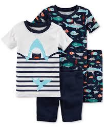 s 4 pc shark print cotton pajama set baby boys pajamas