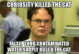 Water Meme - curiosity killed the cat false your contaminated water supply
