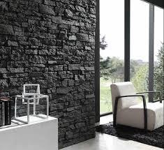 natursteinwand wohnzimmer natursteinwand im wohnzimmer schwarze kontraste wohnen und leben