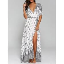 summer maxi dresses surplice high slit paisley maxi dress in white l twinkledeals