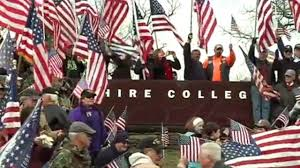 College Flag At Least 1 000 Veterans Descend Upon College To Protest American