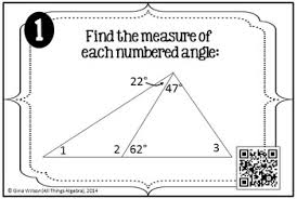 of triangles task cards triangle sum theorem exterior angle theorem