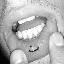 inner lip smiley face tattoo lips tattoo ideas