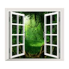 deep forest pag 3d artificial window view 3d wall decals room