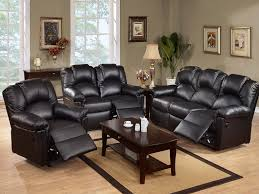 furnitures leather reclining sofa set new rich black leather