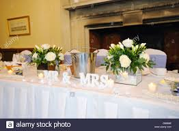 mr mrs wedding table decorations top table at wedding reception showing mr mrs decoration stock