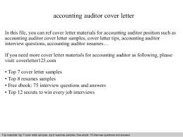 Auditor Resume Sample Accounting Auditor Cover Letter