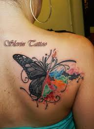 watercolor butterfly rose tattoo on upperback in 2017 real photo