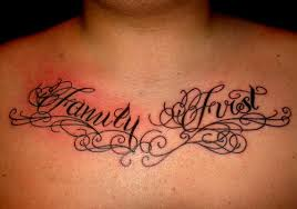 script etched on the chest in a cool cursive font has got a
