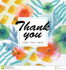 watercolor thank you card stock illustration image 54848208