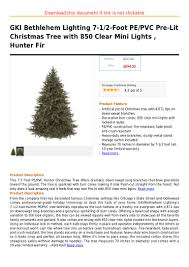 gki bethlehem lighting 7 1 2 foot pe pvc pre lit tree with