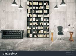 private loft office bookcase leather sofa stock photo 383811157
