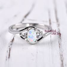 opal engagement rings white opal ring silver lab opal ring opal wedding band