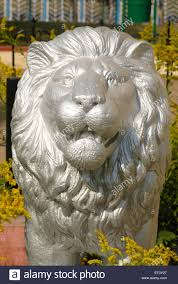 silver lion statue statue of lion painted in silver color at memorial of armed