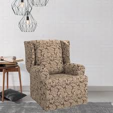 wing chair slipcover scroll wing chair slipcover free shipping today overstock com