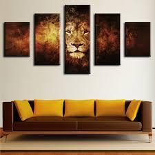 5 Piece lion Modern Home Wall Decor Canvas Picture Art HD Print