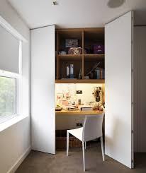 hidden office desk large doors desk hidden computer nook in closet homeoffice