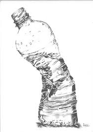charcoal drawing still life water bottle still life drawing