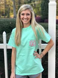 Comfort Colors Chalky Mint Monogrammed Short Sleeve Island Reef Comfort Colors Tee Ginny