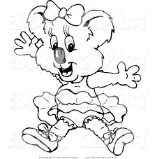 vector clip art of a black and white outline design of a ballerina koala by dennis holmes designs 513 jpg