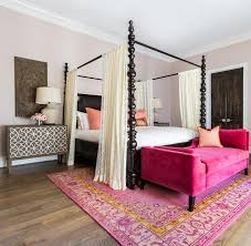 Black Canopy Bed Hot Pink Settee At End Of Black Canopy Bed Mediterranean Bedroom