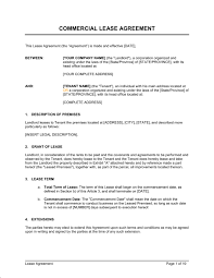 commercial lease agreement template u0026 sample form biztree com