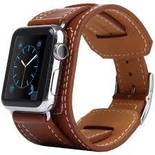 black leather cuff bracelet images Kakapi genuine leather cuff bracelet apple watch 42mm brown jpg