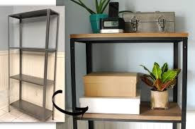 Wood Plank Shelves by Ikea Hack Wood And Metal Bookshelf Real Happy Space