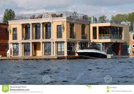 Two Story Deck Luxury Two Story Houseboat With Columns Editorial Stock Image