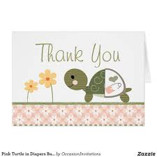 pink turtle in diapers baby shower thank you note card baby