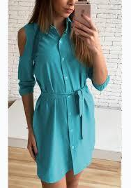 dark sashes buttons polo neck casual blue mini dress mini