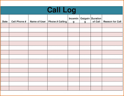 template call log template