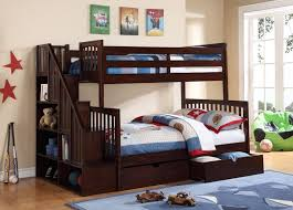 Darren Twin Over Full Bunk Bed With Bookshelf Stairs By Caramia - Twin over full bunk bed canada