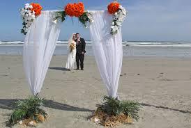 Wedding Arches Beach Sara Two Post Bamboo Arch In White U0026 Orange As Beach Wedding In