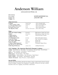 inspiration musical theatre resume samples on theater resume
