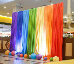 party decorations new silk rainbow wedding backdrop colourful wedding background