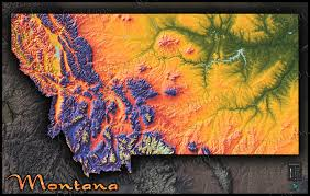 Map Montana Montana Topography Map Physical Style With Colorful Mountains