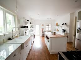 Open Shelves Under Cabinets Subway Tile Backsplash White Farmhouse Sink Shaker Cabinets Under