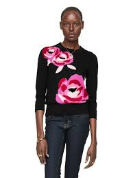 kate spade new york rose intarsia sweater in black lyst