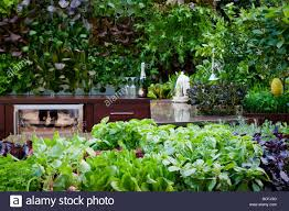 outdoor kitchen with raised containers of herbs in foreground