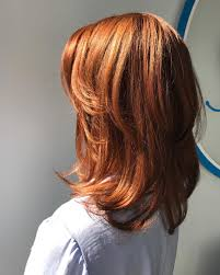 medium length layered hairstyles pinterest copper red straight medium length hair with chunky layers medium
